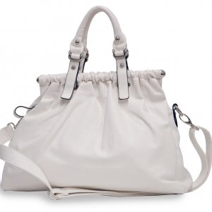 Pleated soft satchel      White