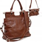 Tall foldable satchel handbag    Brown