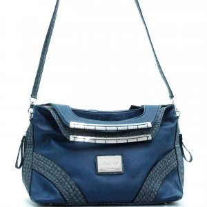 Dasein fashion satchel bag with croco trim            Navy Blue