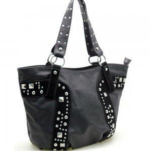 Fashion studs decorated tote bag    Black