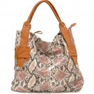 Two-Tone Python Embossed Tote Bag	              DK. Python / Brown