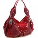 Fashion studs decorated shoulder bag    Burgundy