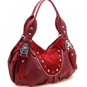 Fashion studs decorated shoulder bag    Burgundy