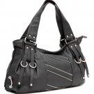 Zipper decorative shoulder bag     Black