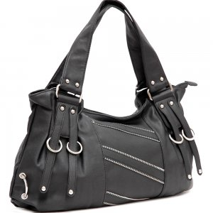 Zipper decorative shoulder bag     Black