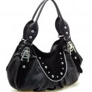 Fashion studs decorated shoulder bag    Black