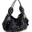 Fashion studs decorated shoulder bag    Black