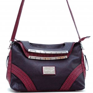 Dasein fashion satchel bag with croco trim
