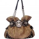 Shoulder bag w/ chain & rhinestone crown