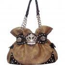 Shoulder bag w/ chain & rhinestone crown