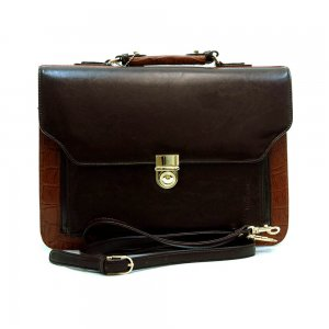 Men's business briefcase with compartment & shoulder strap