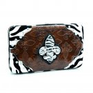 Zebra Fleur De Lis sign frame checkbook wallet
