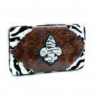 Zebra Fleur De Lis sign frame checkbook wallet