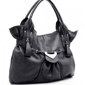 Decorative Front Shoulder Bag     Black