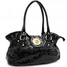 Designer inspired lion monogram shiny shoulder bag    Shiny Black