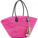 Striped straw tote w/ nautical theme charms      Pink