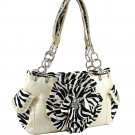 Rustic Couture Zebra Flower Shoulder Bag