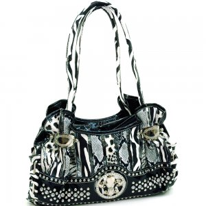 Animal print and croco shoulder bag