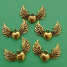6pcs Antiqued Golden Winged Heart Pendants.