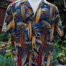 RJC Vintage Hawaiian Bright Surf Board Print Cotton Camp Beach Shirt Size XL