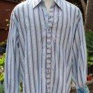 NEW ROBERT GRAHAM Striped Chevron Embroidered Trim Lorient Cuff Shirt Size 2XL