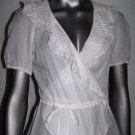 Rebecca Taylor Sheer Cotton Ruffle Top Short Sleeve Shirt White Blouse Size 4