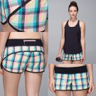 NEW LULULEMON Run Speed Shorts Wee Wheezy Plaid Check Running Crossfit Size 4