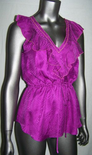 REBECCA TAYLOR Silk Fuchsia Ruffle Sleeveless Top S Cinch Waist Shirt Size 2