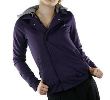 Womens VOLCOM Jalk Novelty Fleece Purple Berry Hooded Jacket Sweatshirt Coat M