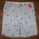 ABERCROMBIE & FITCH Navy A&F Embroidered Shorts Men's Size 33 Inseam 9 in.
