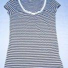 BANANA REPUBLIC V-Neck Tunic Top Stripe Short Cap Sleeve Tee Size XS
