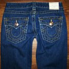 AUTH TRUE RELIGION JOEY BIG T Thick Gold Stitch Twisted Flare Jeans 27 x 33
