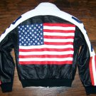 Michael Hoban American Flag Wheremi Leather Bomber Jacket Size S
