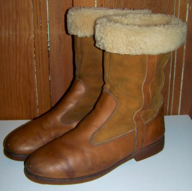 Vintage Mens Brown Leather Shearling Lined Winter Boots Size 10-11 Roots