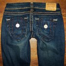 Womens True Religion Joey Super T Thick Stitch Flare Jeans Size 25 x 32