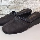 Brighton Brown Leather Mules Slip On Slides Wedges Size 9 M