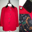 Ralph Lauren Barn Jacket Equestrian Horse Buttons Hunt Farm Red Black PS S