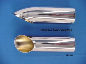 "Chrome Turn Down Muffler Exhaust Tips 2 1/2"" ID 9"" Long"