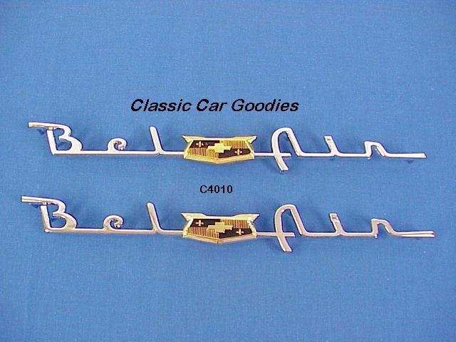 "1953 1954 Chevy ""Belair"" Chrome Side Scripts New Pair"