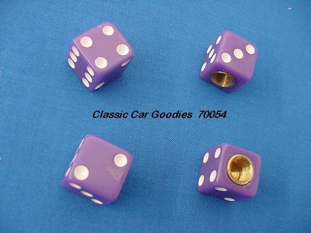 "Tire Valve Caps ""Purple Dice"""