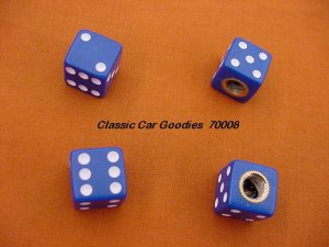 "Tire Valve Caps ""Blue Dice"""