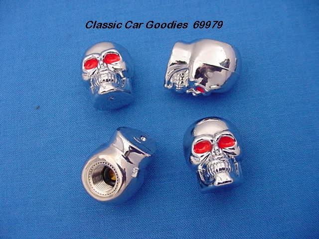 "Tire Valve Caps ""Chrome Skulls"""