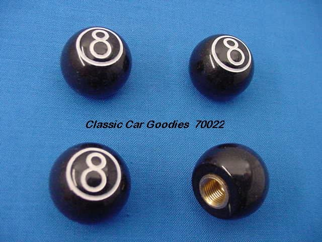 "Tire Valve Caps ""8 Ball"""