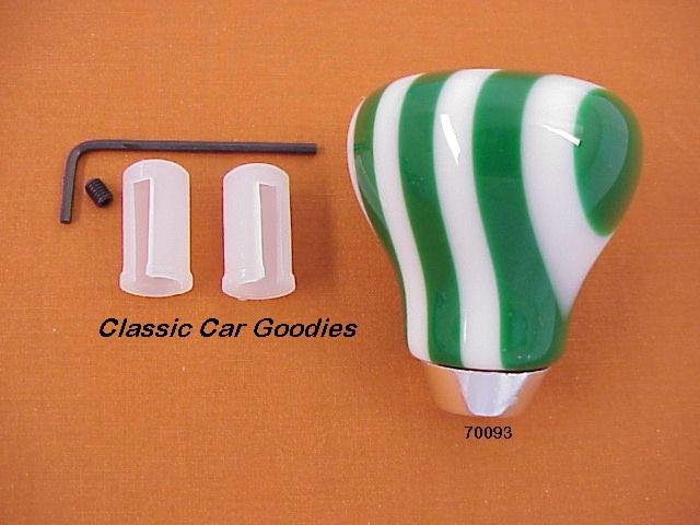 "Shift Knob ""9 Layer Twist Green and White"""