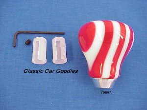 """Shift Knob """"9 Layer Twist Red and White"""""""