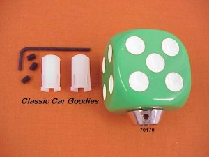 "Shift Knob ""Green Dice"" Rock n Roll Craps Gambler"