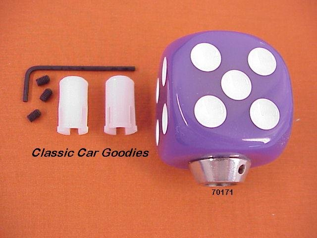 "Shift Knob ""Purple Dice"" Rock n Roll Craps Gambler"