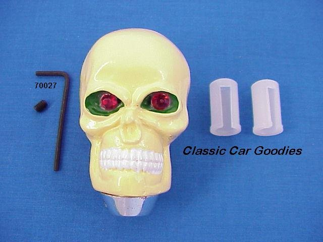 "Shift Knob ""Skull Natural"" Red Eyes Evil Goth Devil"