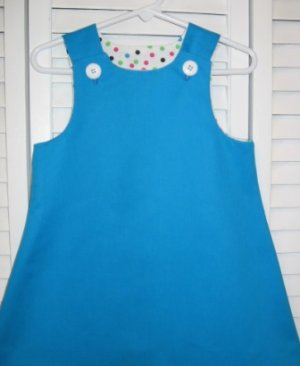 9-12 Months Turquoise with Polka Dots Dress