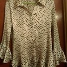 """Womens XL 3/4"""" sleeve button up Black and White Polk Blouse by Essentials Milano"""